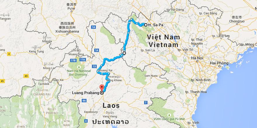 Mappa - SaPa-Luang-Prabang